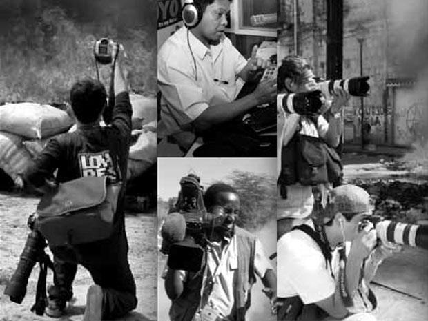 Imagens de exposição em homenagem a jornalistas mortos (Associated Press)