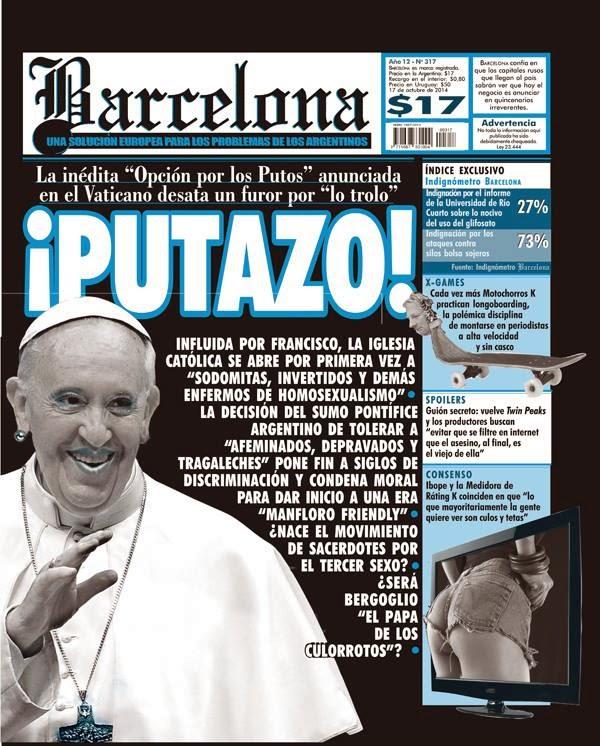 Capa da revista Barcelona que traz o papa usando brincos