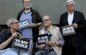 Cartunistas argentinos, em homenagem ontem ao ataque na França