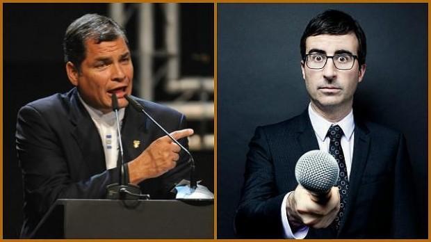 O presidente Correa e o comediante britânico John Oliver (Reprodução)