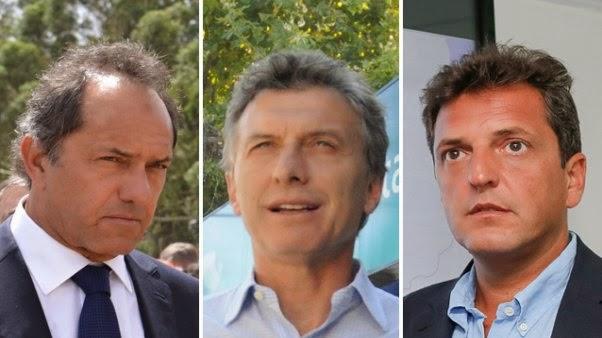 Daniel Scioli, Mauricio Macri e Sergio Massa, pré-candidatos com mais chances (Foto: Clarín)