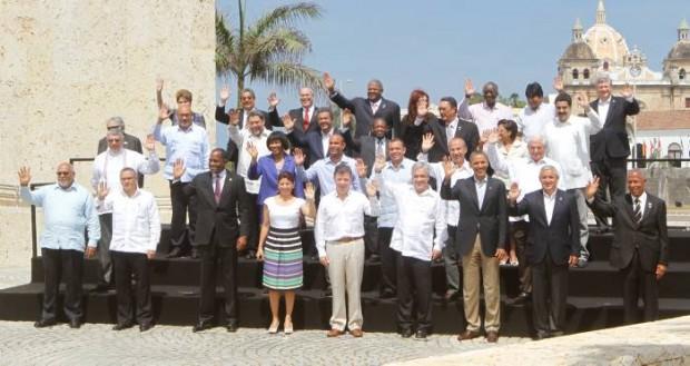 Presidentes das Américas no final da Cúpula de Cartagena, em 2012 (Foto: El Espectador)