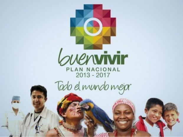 """Cartaz de propaganda da campanha equatoriana pelo """"Viver Bem"""" Foto Divulgação"""