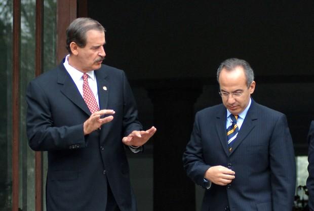 Vicente Fox e Felipe Calderón, ex-presidentes mexicanos do PAN (Foto: Reforma)