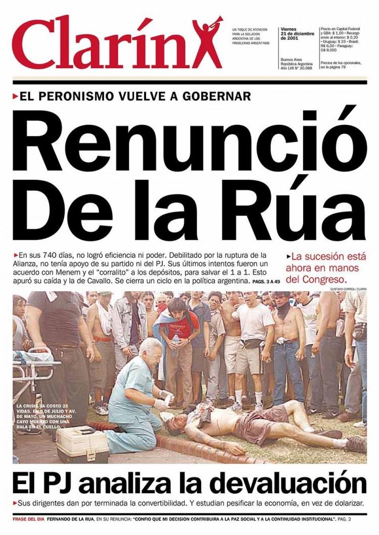 """Capa do """"Clarín"""", anunciando renúncia de De la Rúa (Foto Reprodução)"""