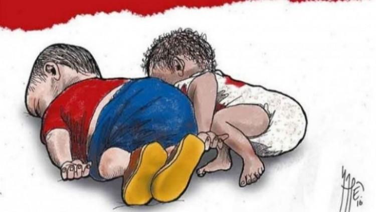 """Ilustração do jornal mexicano """"Milenio"""", que faz alusão às mortes do garoto sírio e ao mexicano (Foto Reprodução)"""