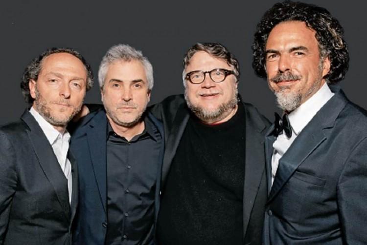 Emmanuel Lubezki, Alfonso Cuarón, Guillermo del Toro e Alejandro González Iñárritu (Foto Associated Press)