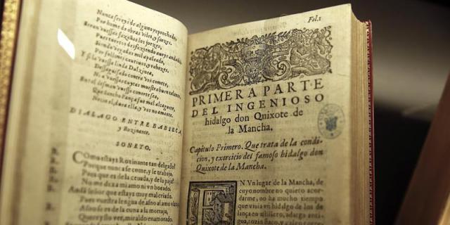 """Uma das edições raras do """"Dom Quixote"""", exibidas na Biblioteca Nacional, em Madri"""