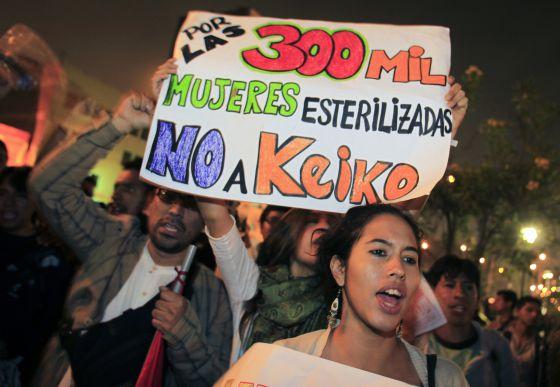Mulheres protestam contra a candidatura de Keiko Fujimori (Foto El Comércio)