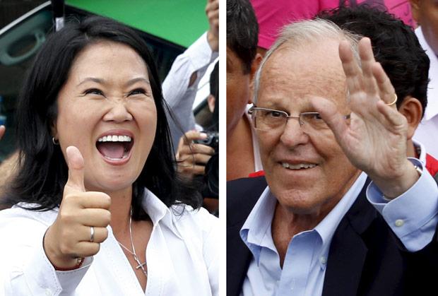 Os candidatos Keiko Fujimori e Pedro Pablo Kuczynski, finalistas do pleito (Foto Reuters)