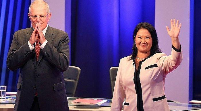 Os candidatos PPK e Keiko Fujimori, após debate do último domingo (Foto El Comércio)