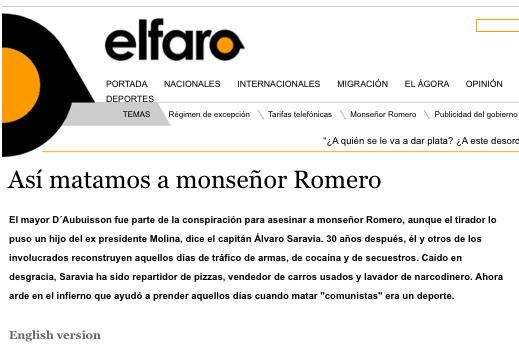 """Página do """"El Faro"""" quando publicaram o furo sobre a morte de Monsenhor Romero, assassinado durante a repressão (Foto Reprodução)"""