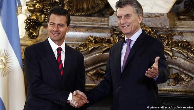 Peña Nieto (México) e Mauricio Macri (Argentina), em encontro em Buenos Aires (Foto Reuters)