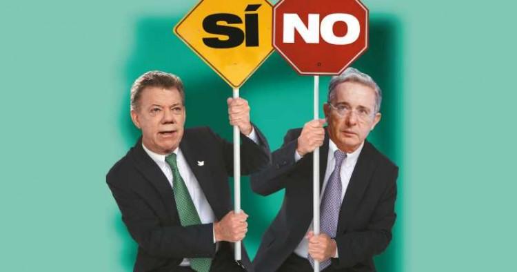 """Charge da revista """"Semana"""" mostra o presidente Santos (com o """"sim"""") e o ex-presidente Uribe (com o """"não"""")"""