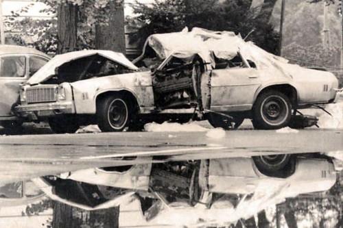 Carro em que viajava Letelier e sua assistente, após a explosão (Foto Arquivo)