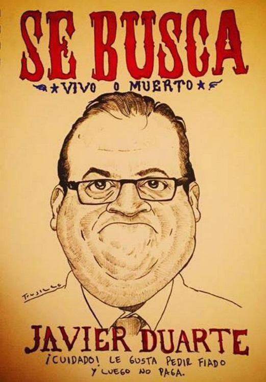 Cartazes que começaram a surgir em Veracruz, sobre a fuga do governador Duarte (Foto Reprodução)