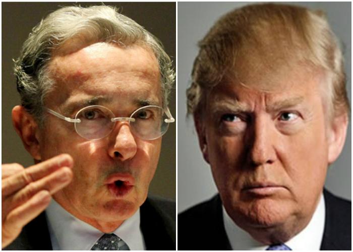 O ex-presidente colombiano Álvaro Uribe e o presidente eleito dos EUA, Donald Trump